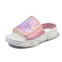 Shoespie Glitter Hook Loop Casual Slippers