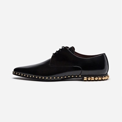 Shoespie Black Rivet Leather Men's Oxford Shoes
