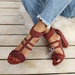 Shoespie Chunky Heel Zipper Open Toe Sandals