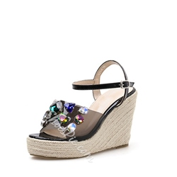 Shoespie Rhinestone Buckle Wedge Heel Sandals