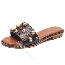 Shoespie Rhinestone Flat Summer Casual Slippers