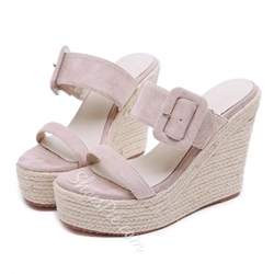 Shoespie Open Toe Buckle Wedge Heel Sandals