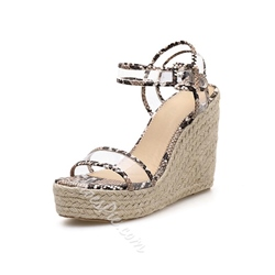 Shoespie Wedge Heel Buckle Clear Sandals