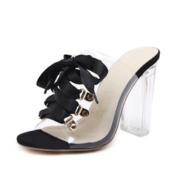 Shoespie Clear Chunky Heel Bow Slippers
