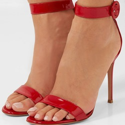 Shoespie Red Buckle Open Toe Stiletto Heel Sandals