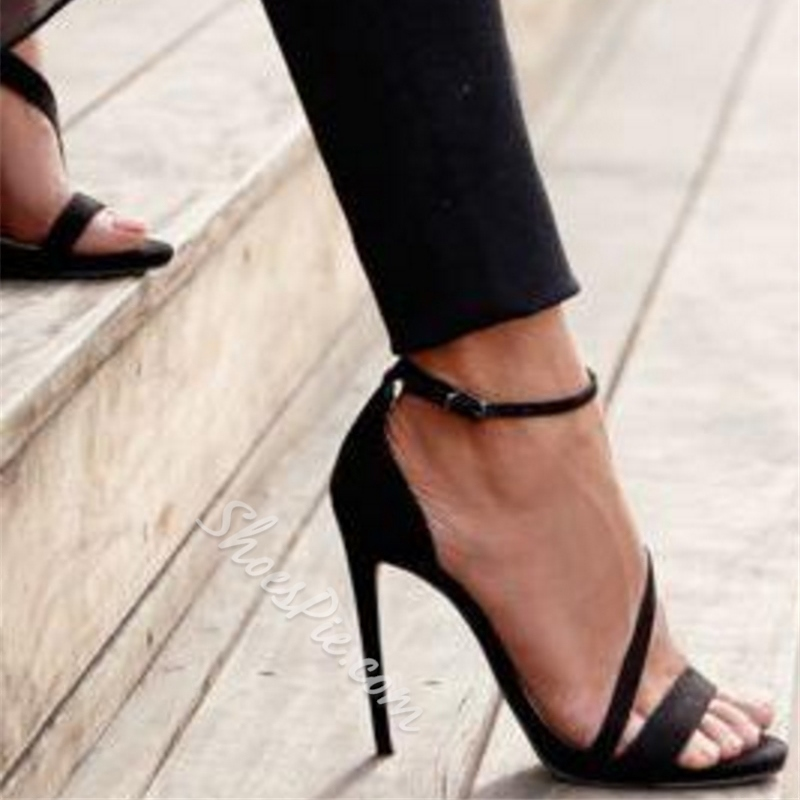 Shoespie Black Narrow Strappy Dress Sandals