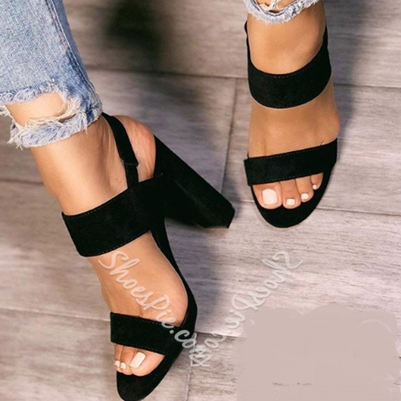 Shoespie Solid Buckle Strap Black Sandals