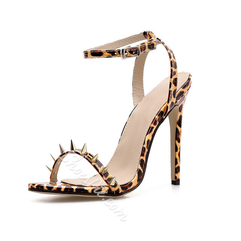 Shoespie Rivet Buckle Stiletto Heel Leopard Sandals