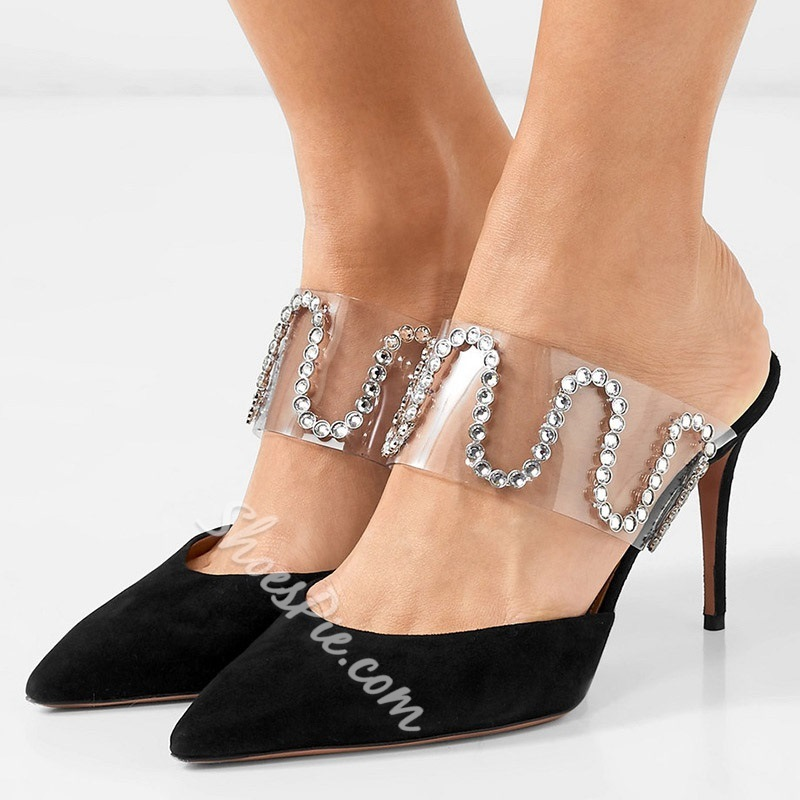 Shoespie Rhinestone Clear Black High Heel Slippers