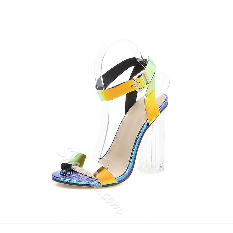 Shoespie Buckle Ankle Strap Chunky Heel Clear Sandals