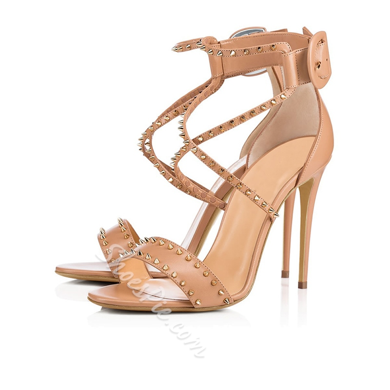Shoespie Stiletto Heel Buckle Rivet Sandals