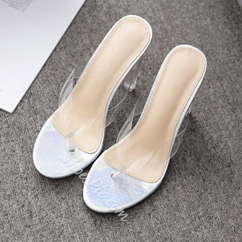 Shoespie Clear Chunky Heel Thong Casual Slippers