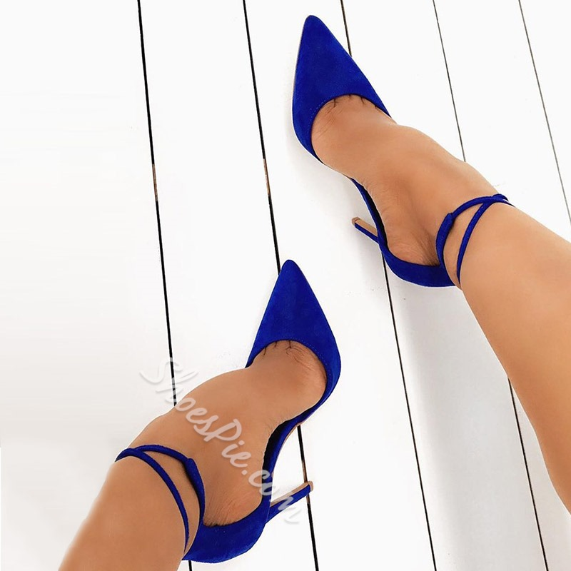 Shoespie Strappy Lace Up Pointed Toe Stiletto Heels