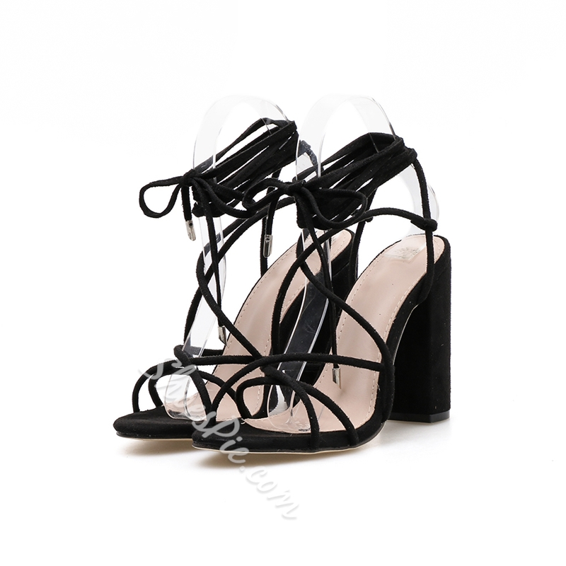 Shoespie Chunky Heel Strappy Black Sandals