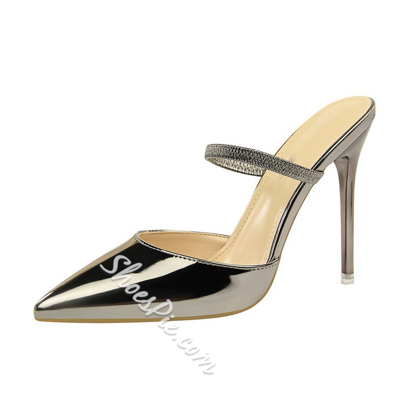 Shoespie Backless Closed Toe Stiletto Heel Slippers