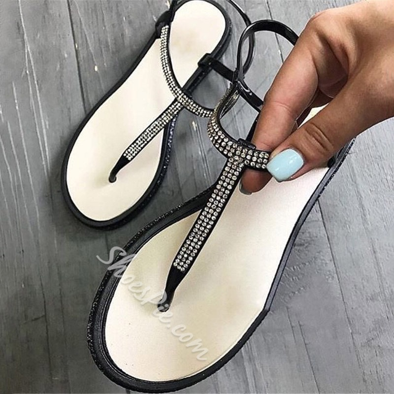 Shoespie Beaded Flat Buckle Thong Sandals