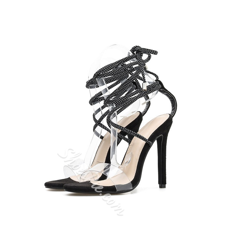 Shoespie Trendy Black Stiletto Heel Ankle Strap Lace-Up Sandals