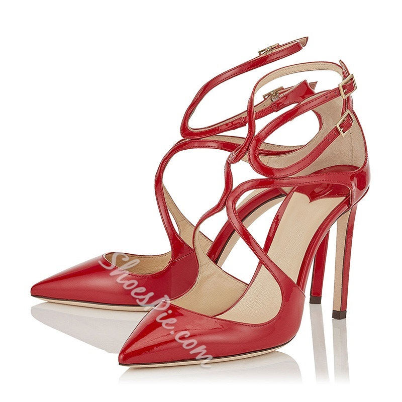 Shoespie Red Stiletto Heel Pointed Toe Buckle Pumps