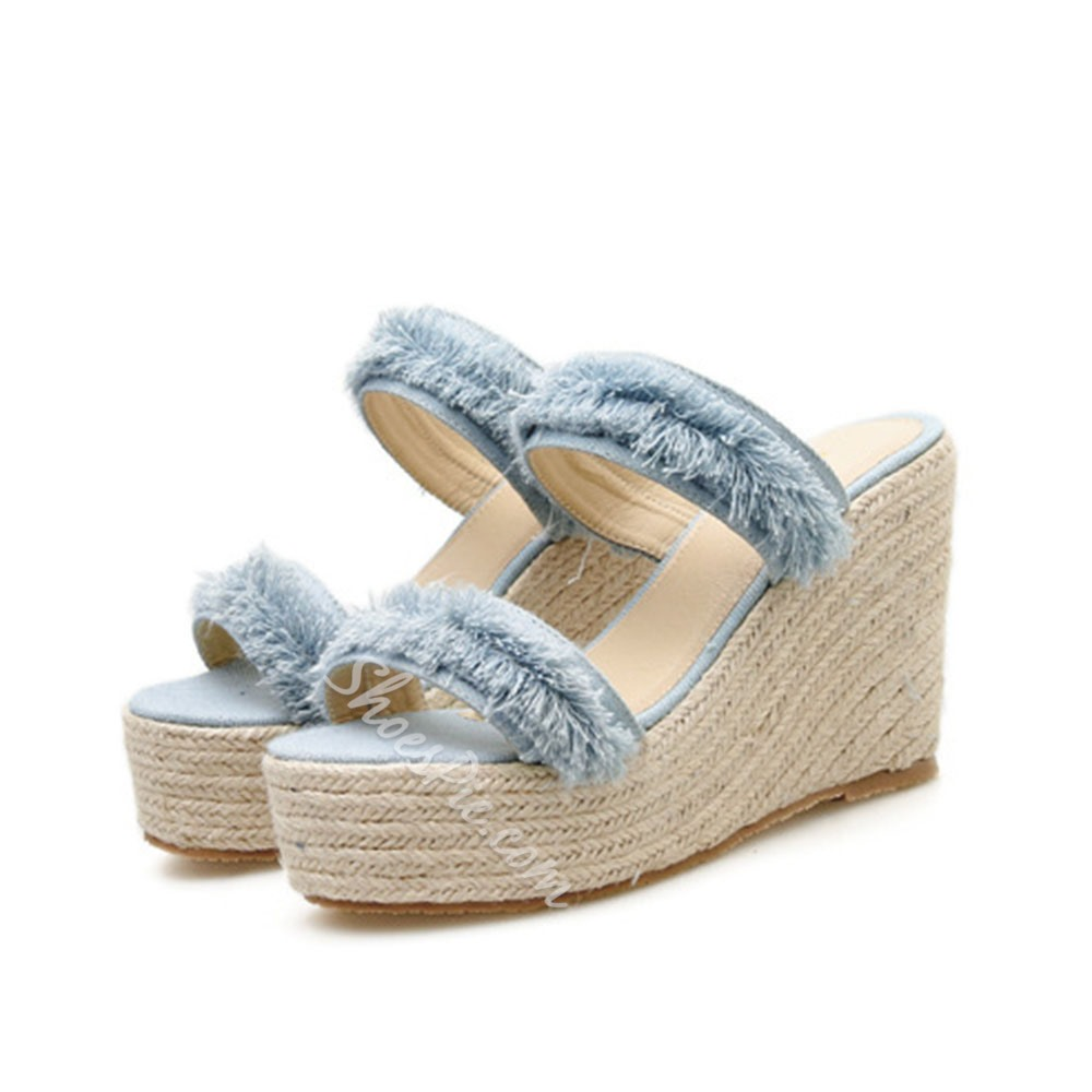 Shoespie Flip Flop Wedge Heel PU Slippers