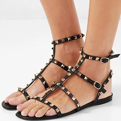 Shoespie Black Rivet Buckle Strappy Sandals