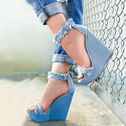 Blue Casual Platform Wedge Heel Sandals