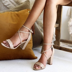 Shoespie Buckle Strap Chunky Heel Sandals