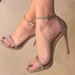 Shoespie Glitter Stiletto Heel Buckle Sandals