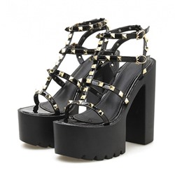 Shoespie Black Platform Buckle Chunky Heel Rivet Sandals