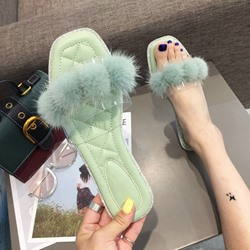 Shoespie Fluffy Clear Flat Slippers