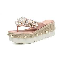 Shoespie Wedge Heel Baeded Thong Slippers
