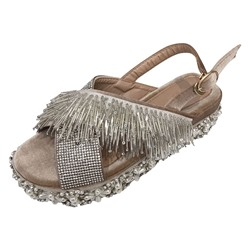 Shoespie Tassel Slingback Beaded Sandals