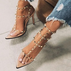 Shoespie Rivet Clear Buckle Stiletto Heel Sandals