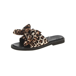 Shoespie Leopard Bow Flat Summer Slippers