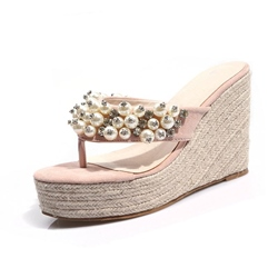 Shoespie Wedge Heel Rhinestone Mules