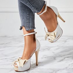 Shoespie Cute Bow Color Block Bowtie Platform Stiletto Heel Sandals
