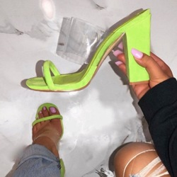 Shoespie Clear Chunky Heel Neon Mules