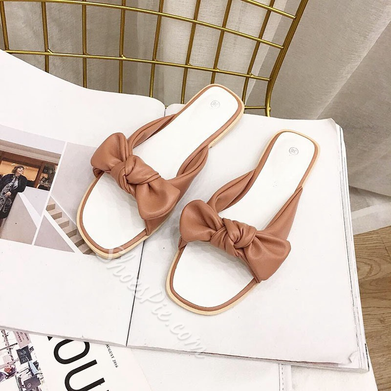 Shoespie Bow Flat Casual Slippers