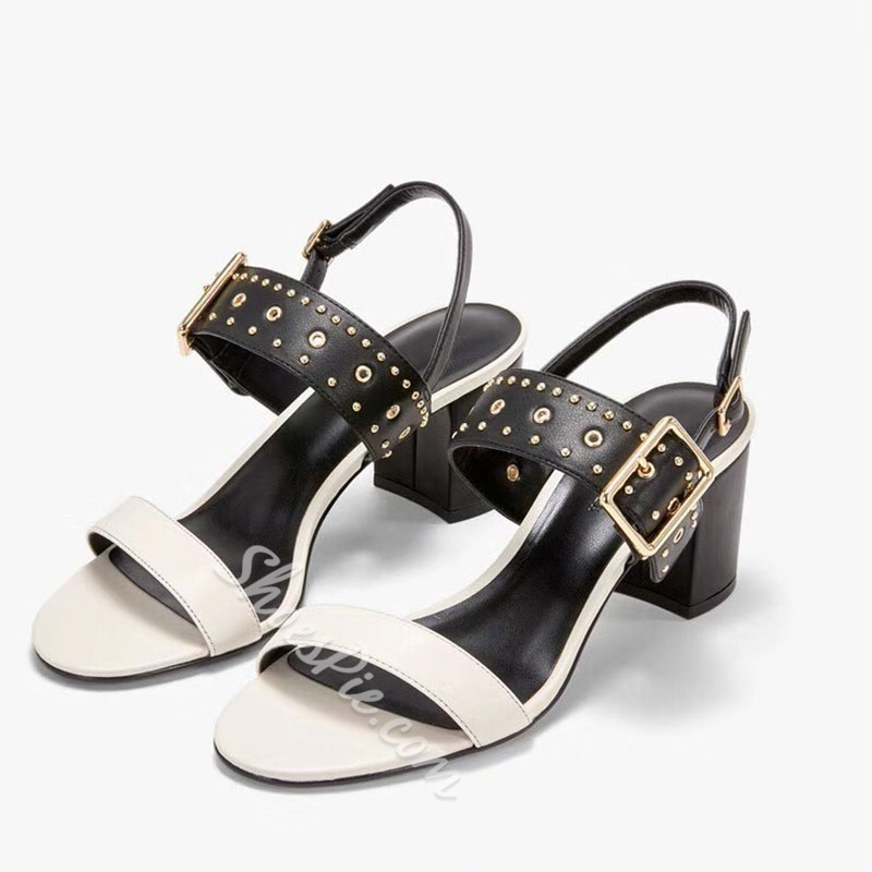 Shoespie Solid Buckle Strap Chunky Heel Black Sandals