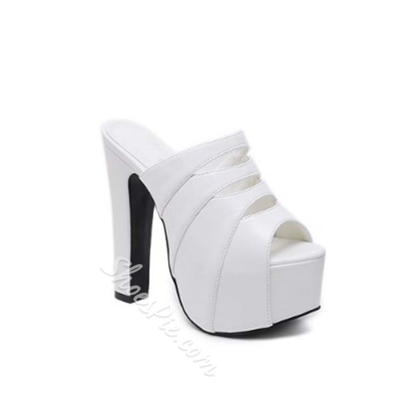 Shoespie Hollow Platform Chunky Heel Mules
