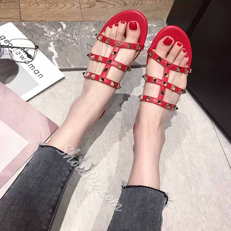 Shoespie Backless Flat Rivet Slippers