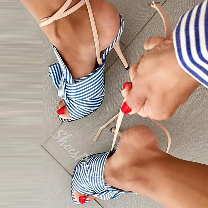 Shoespie Stiletto Heel Ankle Strap Bow Sandals