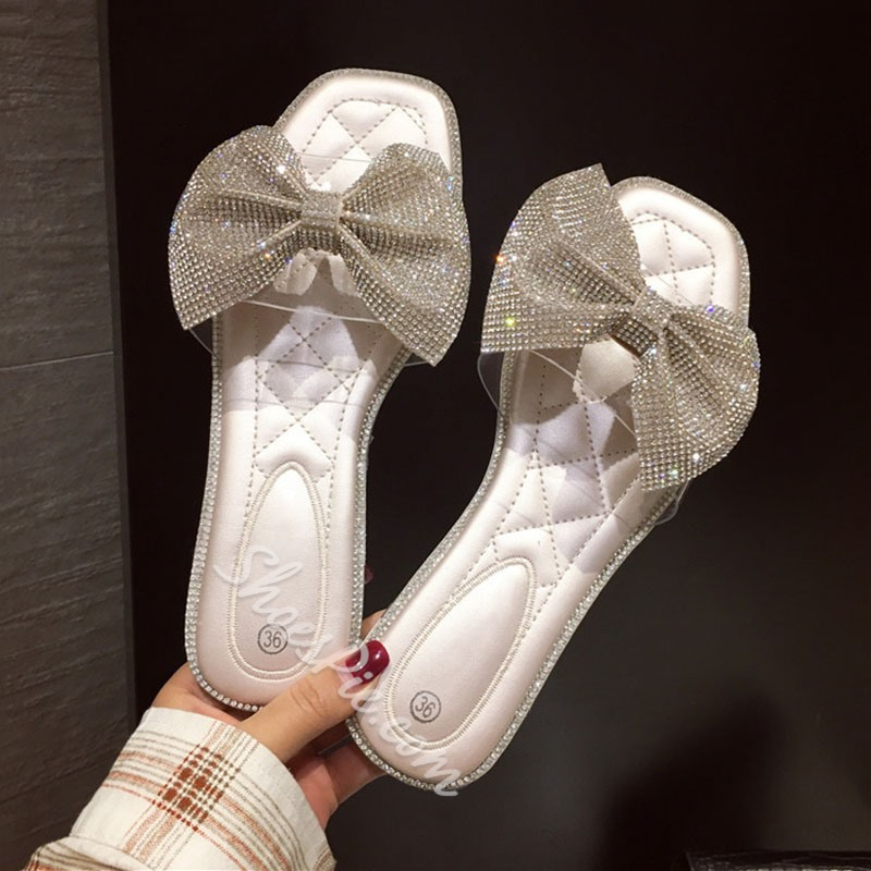 Shoespie Glitter Beaded Clear Flat Bow Slippers