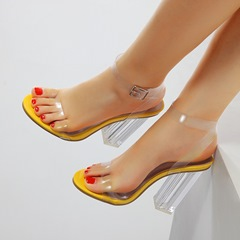 Shoespie Yellow Clear Buckle Chunky Heel Sandals