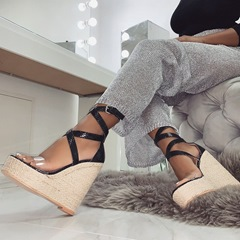 Shoespie Clear Strappy Wedge Heel Sandals