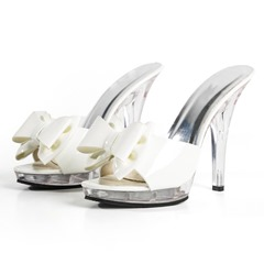 Shoespie Bow Clear Platform Stiletto Heel Mules