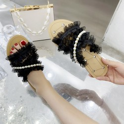 Shoespie Lace Rhinestone Flat Slippers