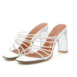 Shoespie Clear Backless Chunky Heel Slippers