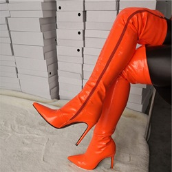 Shoespie Orange High Heel Zipper Thigh High Boots