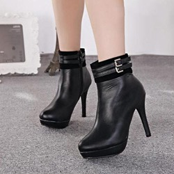 Shoespie Buckle Stiletto Heel Platform Ankle Boots