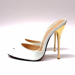 Shoespie Peep Toe Stiletto Heel Mules